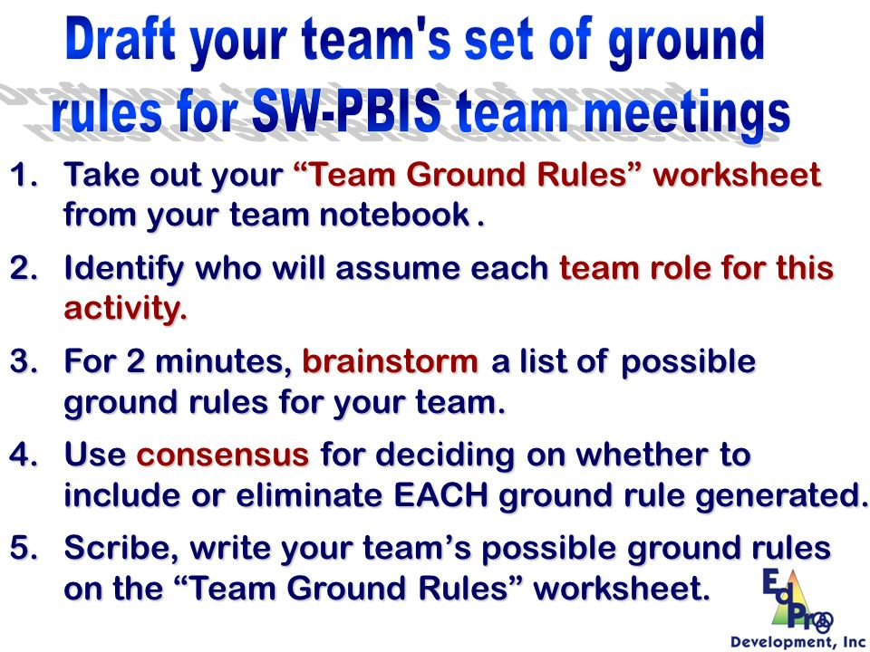 Draft your team s set of ground rules for SW-PBIS team meetings
