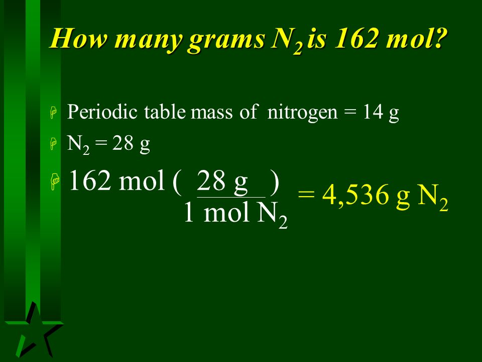 How many grams N2 is 162 mol 162 mol ( 28 g ) 1 mol N2 = 4,536 g N2
