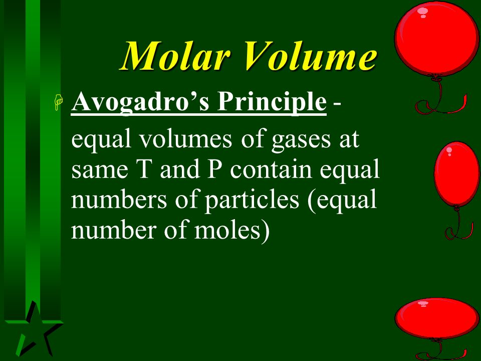 Molar Volume Avogadro's Principle -