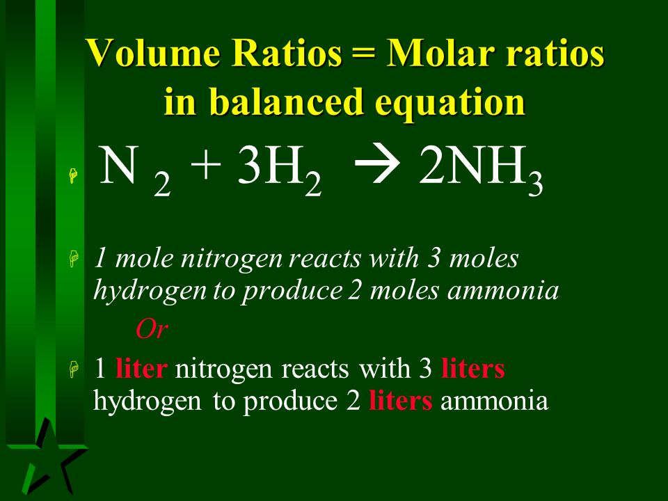 Volume Ratios = Molar ratios in balanced equation
