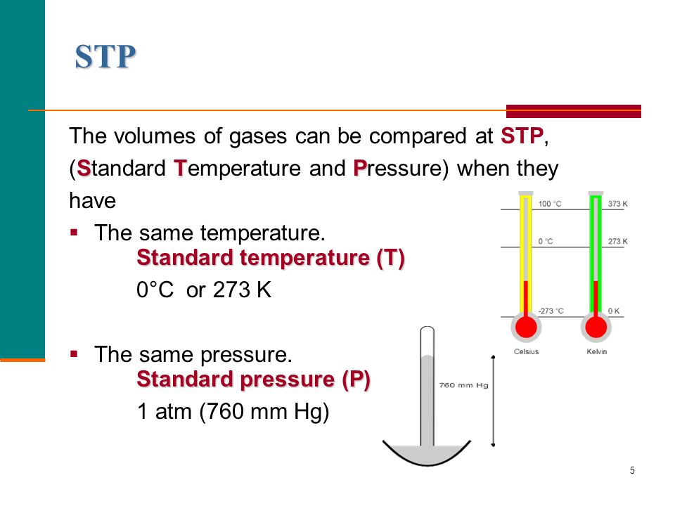 STP The volumes of gases can be compared at STP,