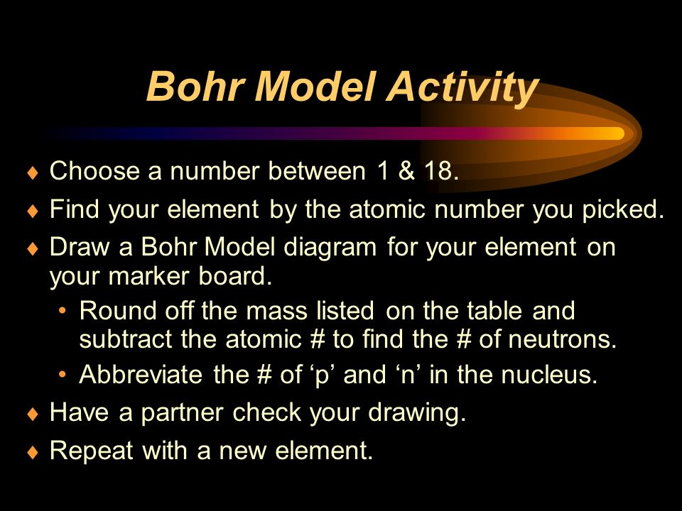 Bohr Model Activity Choose a number between 1 & 18.