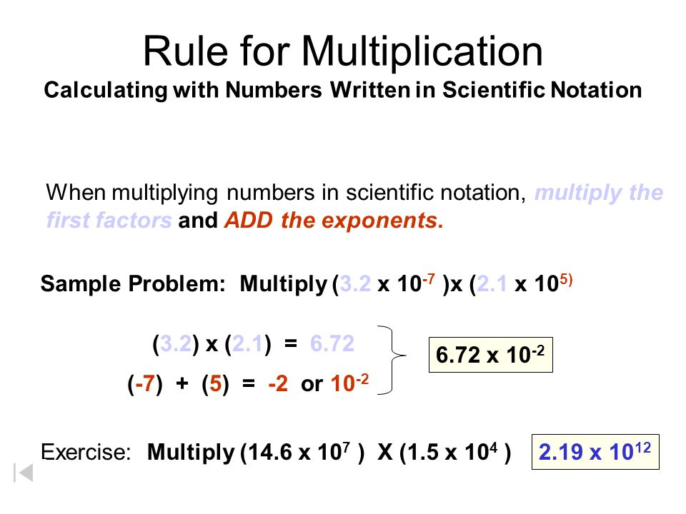 Rule for Multiplication Calculating with Numbers Written in Scientific Notation