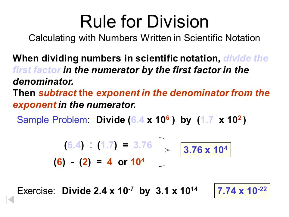 Rule for Division Calculating with Numbers Written in Scientific Notation