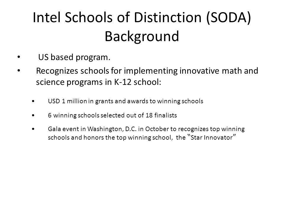 Intel Schools of Distinction (SODA) Background
