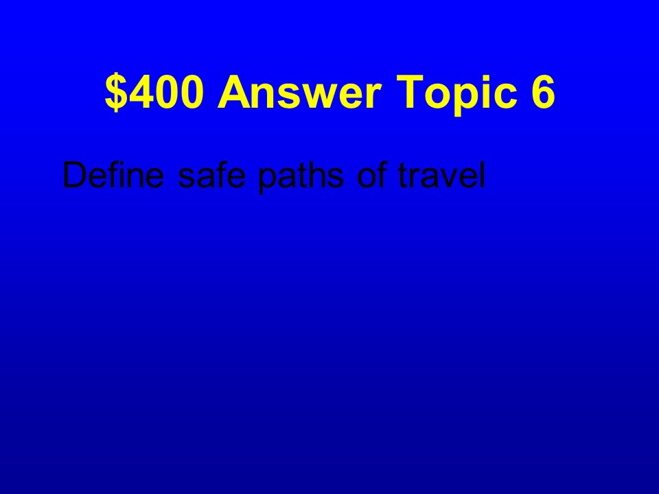 $400 Answer Topic 6 Define safe paths of travel