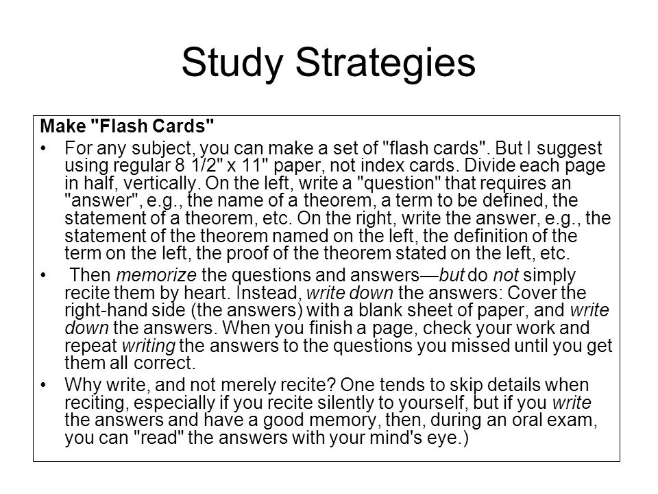 Study Strategies Make Flash Cards