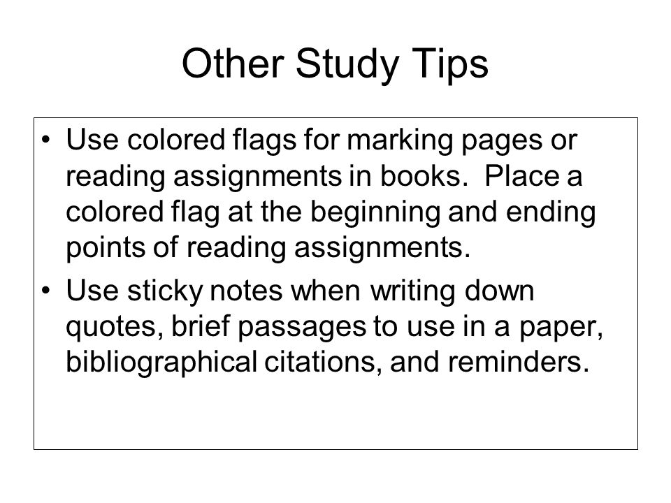 Other Study Tips
