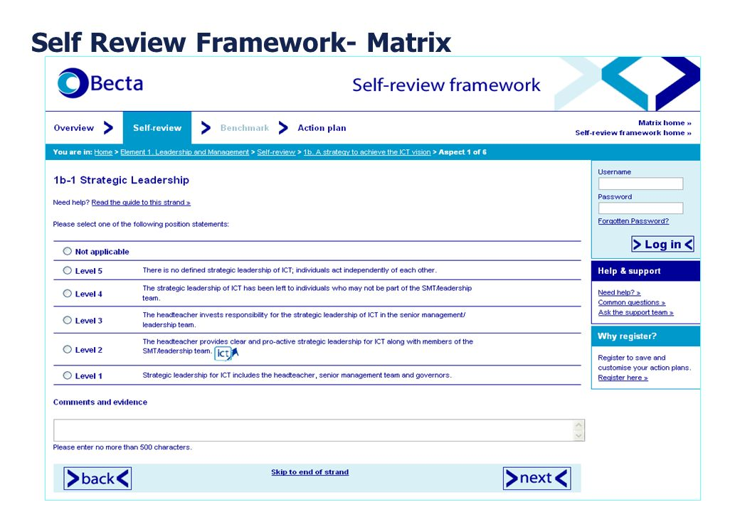 Self Review Framework- Matrix