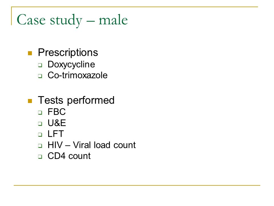 Case study – male Prescriptions Tests performed Doxycycline