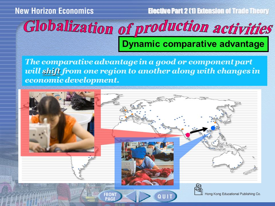 Globalization of production activities Dynamic comparative advantage