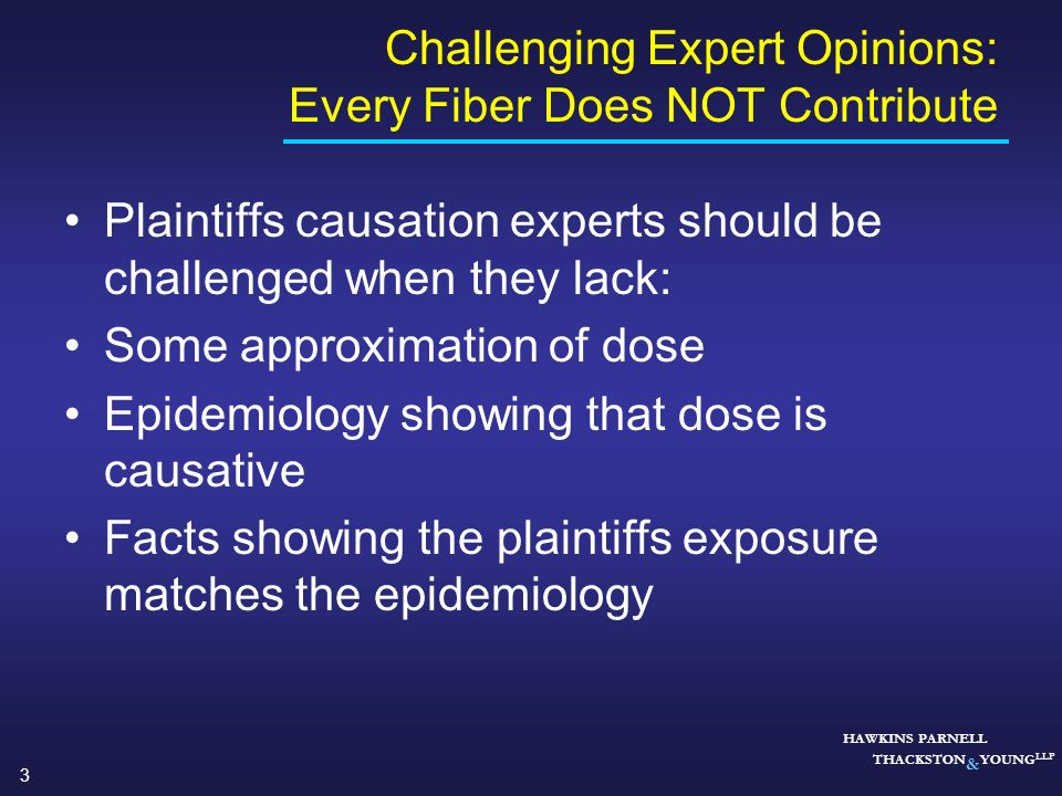 Challenging Expert Opinions: Every Fiber Does NOT Contribute