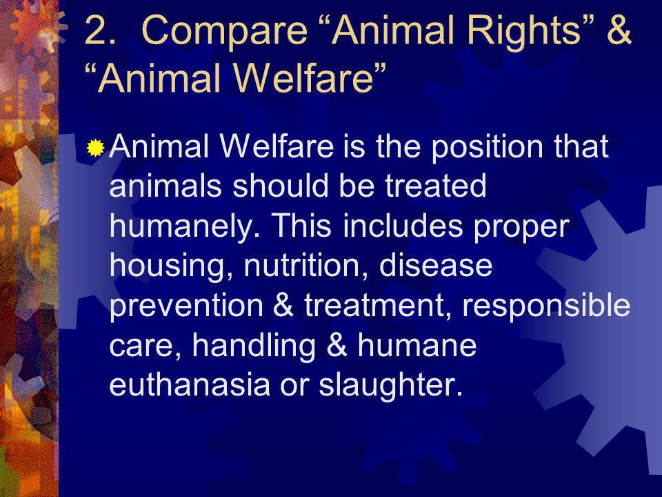 2. Compare Animal Rights & Animal Welfare