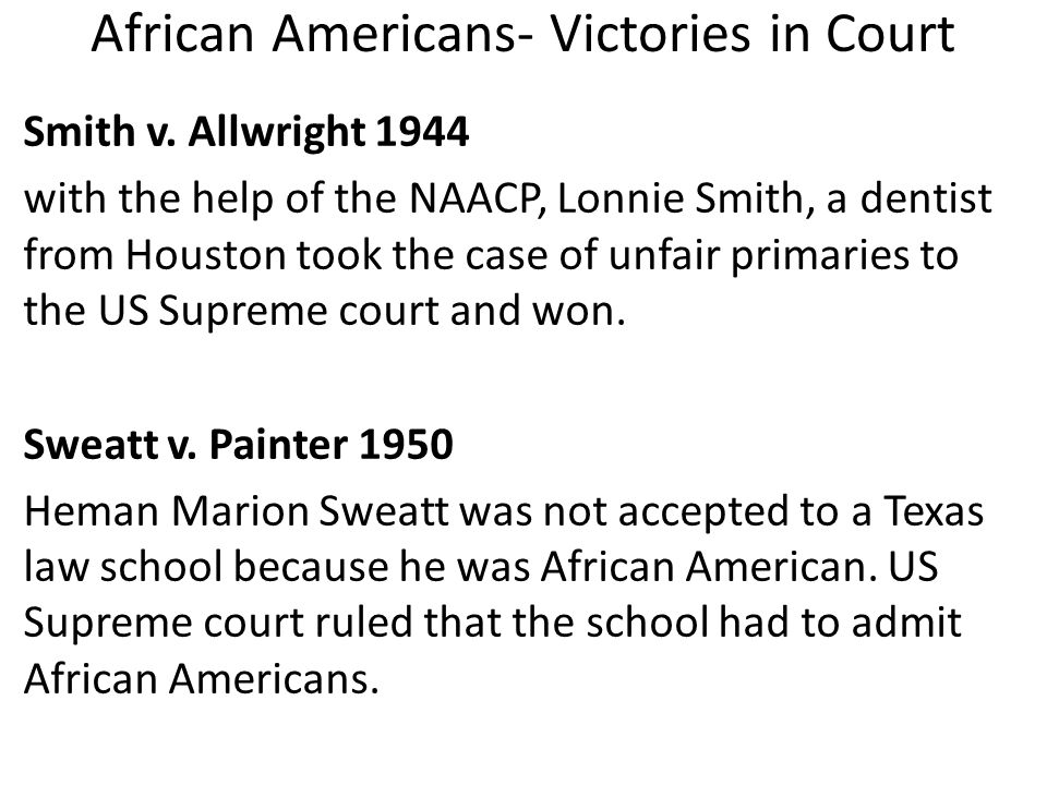 African Americans- Victories in Court