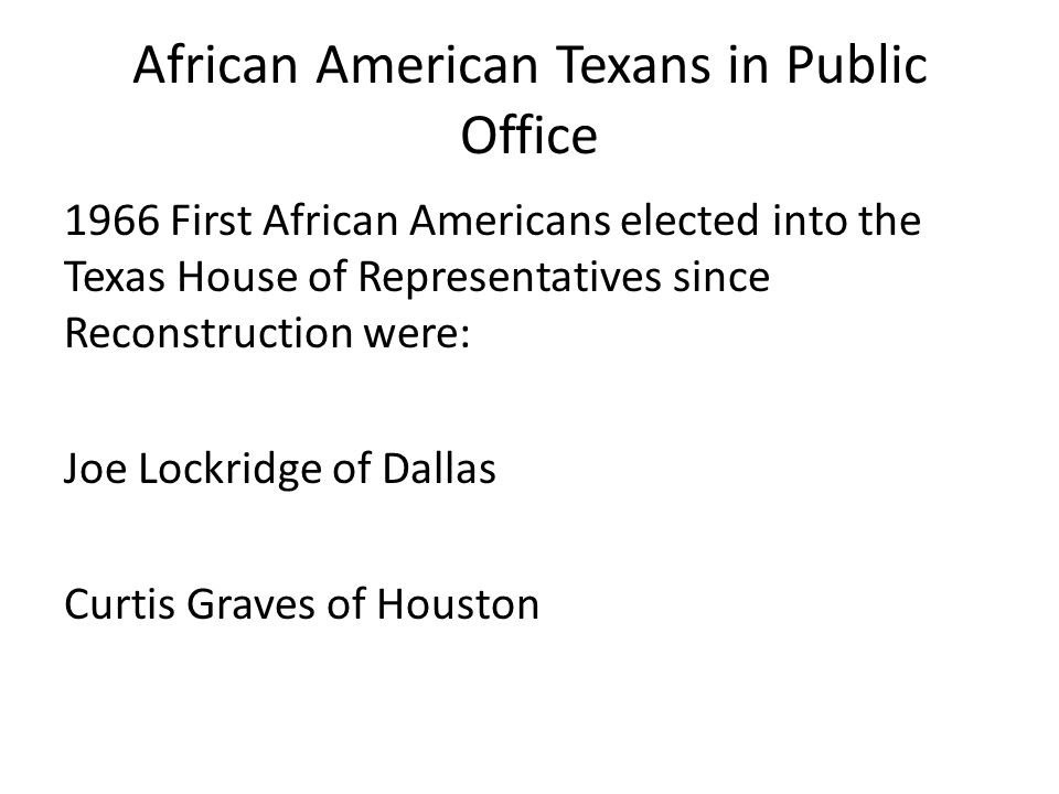 African American Texans in Public Office