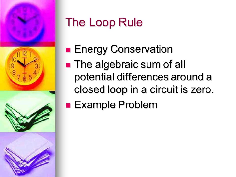 The Loop Rule Energy Conservation