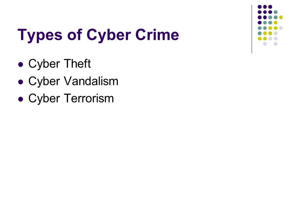 Types of Cyber Crime Cyber Theft Cyber Vandalism Cyber Terrorism