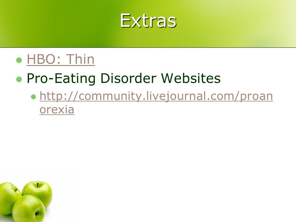 Extras HBO: Thin Pro-Eating Disorder Websites
