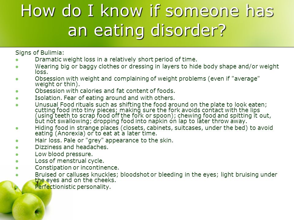 How do I know if someone has an eating disorder