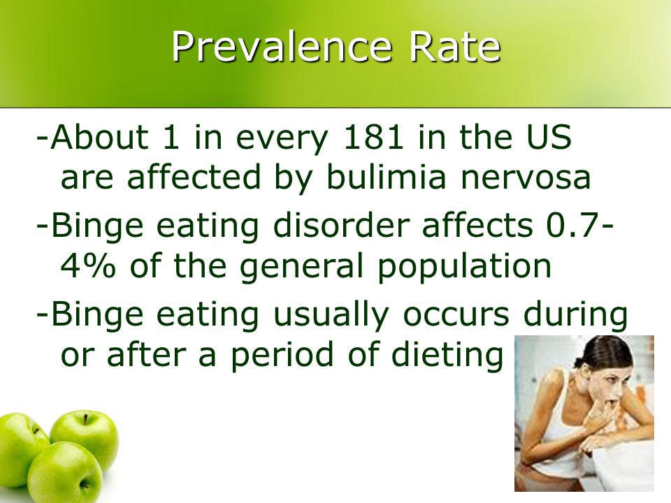 Prevalence Rate -About 1 in every 181 in the US are affected by bulimia nervosa. -Binge eating disorder affects 0.7-4% of the general population.