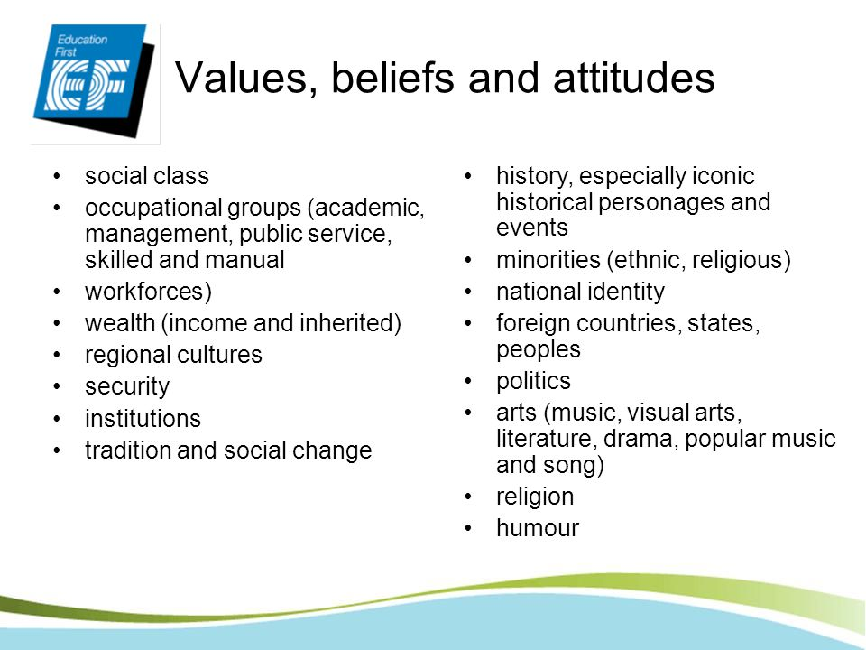 Values, beliefs and attitudes