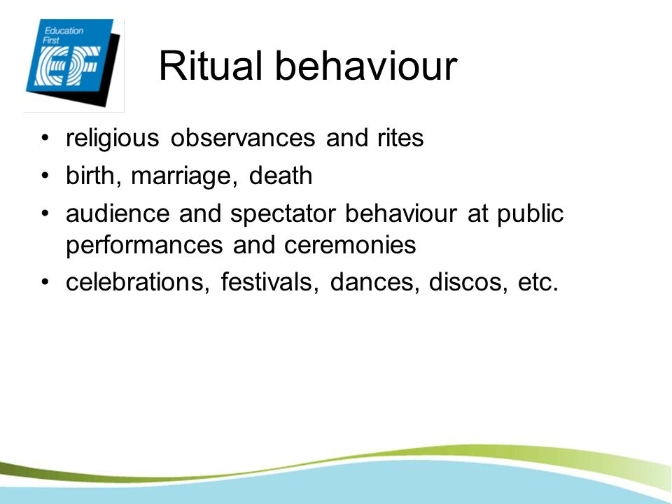 Ritual behaviour religious observances and rites