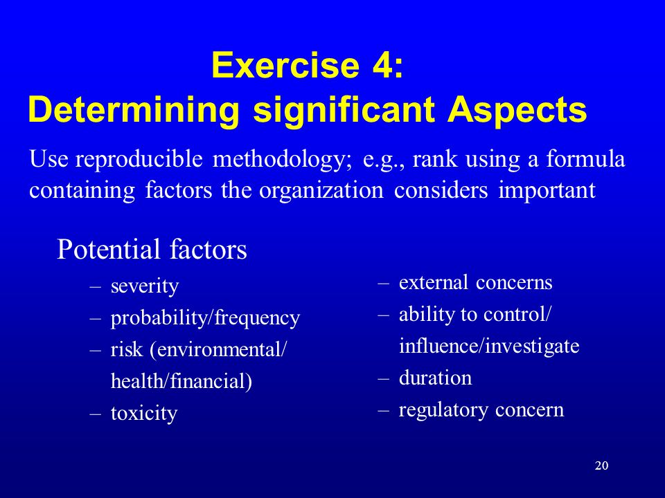 Exercise 4: Determining significant Aspects