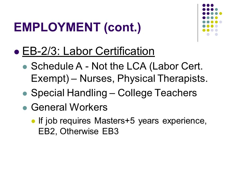 EMPLOYMENT (cont.) EB-2/3: Labor Certification