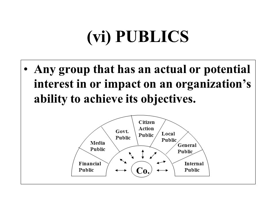 (vi) PUBLICS Any group that has an actual or potential interest in or impact on an organization's ability to achieve its objectives.