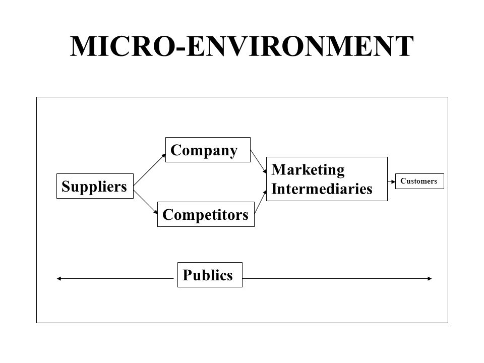 MICRO-ENVIRONMENT Company Marketing Intermediaries Suppliers
