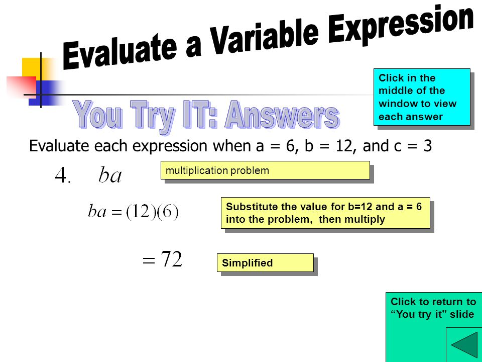 Evaluate a Variable Expression