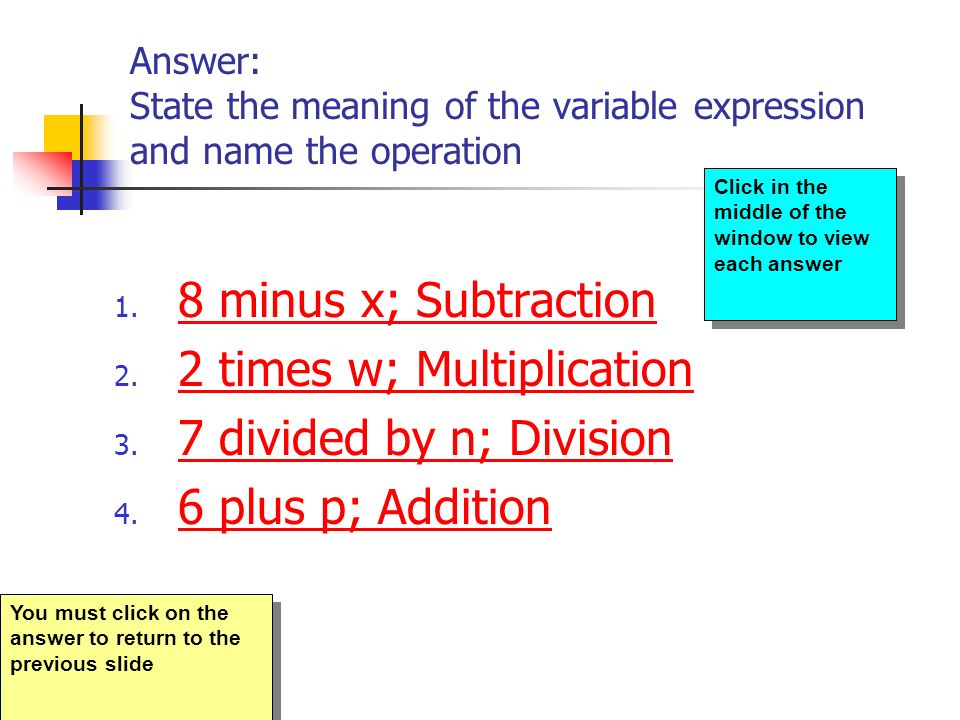 2 times w; Multiplication 7 divided by n; Division 6 plus p; Addition