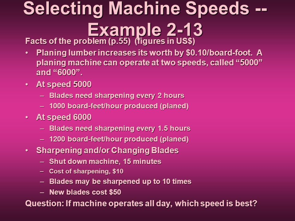 Selecting Machine Speeds -- Example 2-13