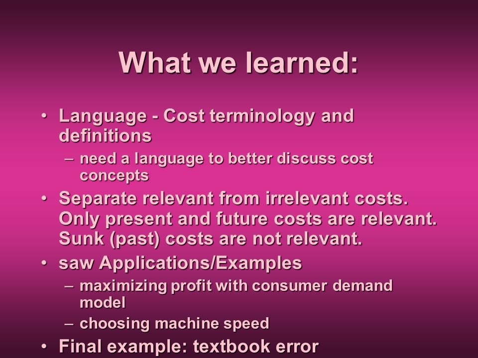 What we learned: Language - Cost terminology and definitions