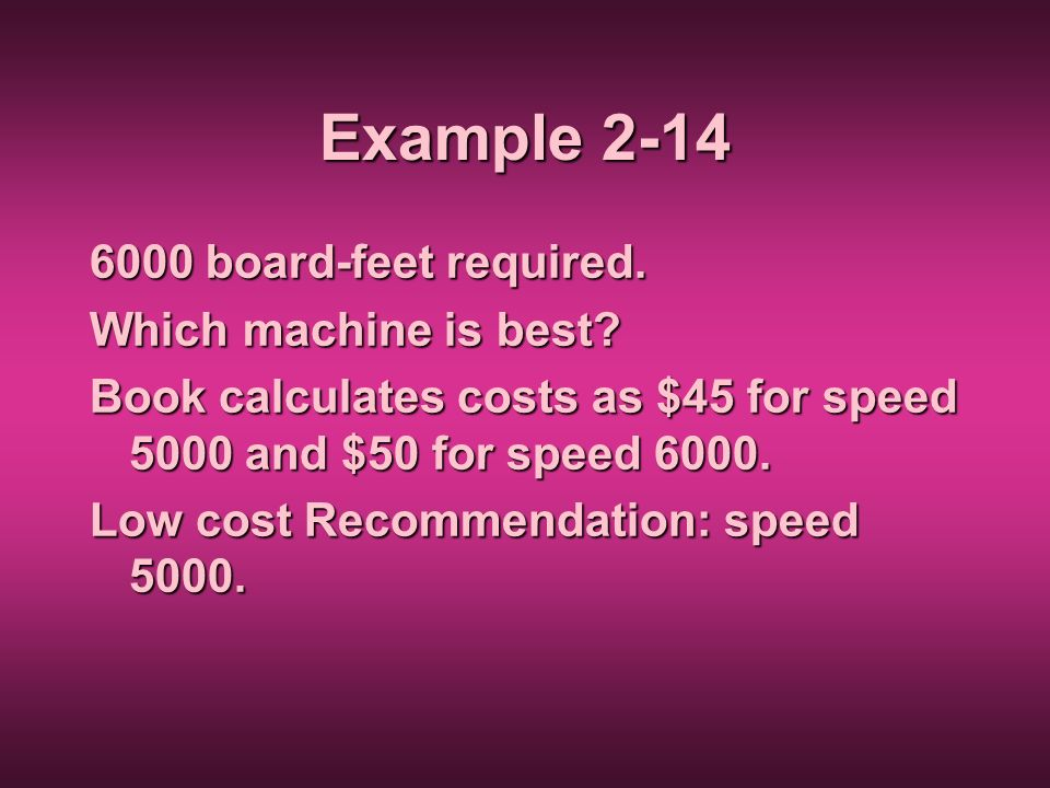 Example 2-14 6000 board-feet required. Which machine is best