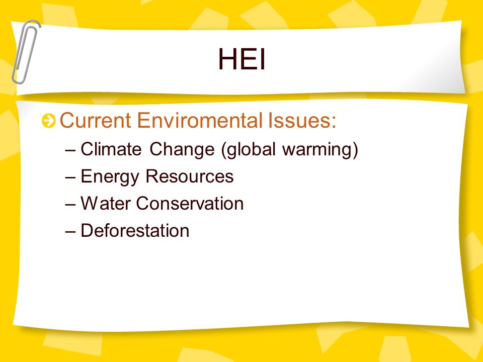 HEI Current Enviromental Issues: Climate Change (global warming)