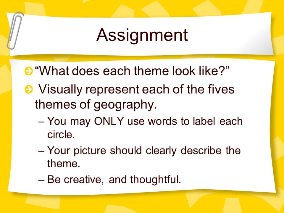 Assignment What does each theme look like