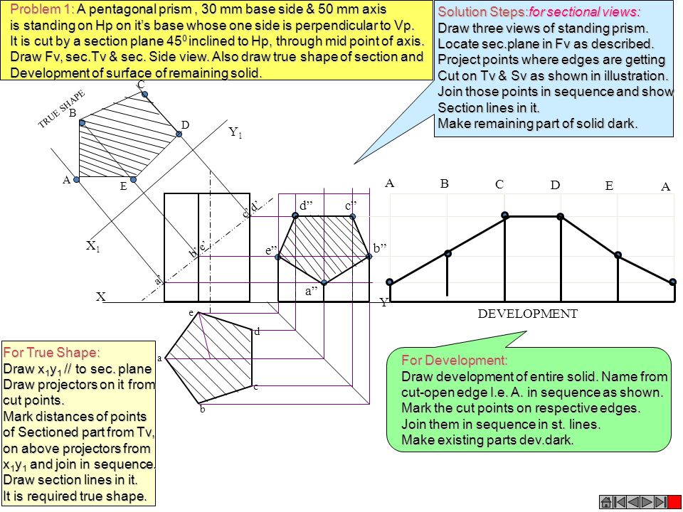 Problem 1: A pentagonal prism , 30 mm base side & 50 mm axis
