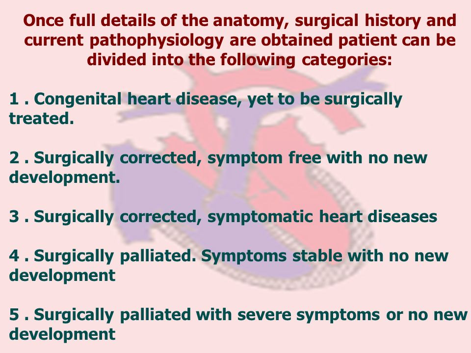 Once full details of the anatomy, surgical history and current pathophysiology are obtained patient can be divided into the following categories: