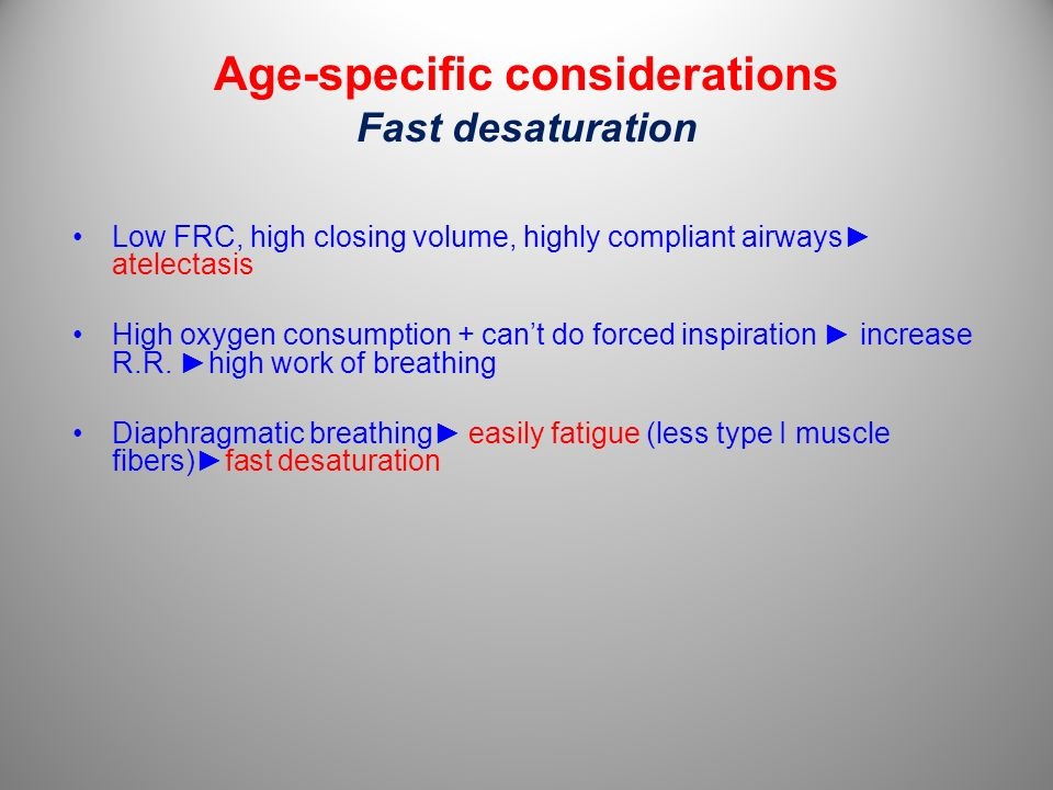 Age-specific considerations Fast desaturation