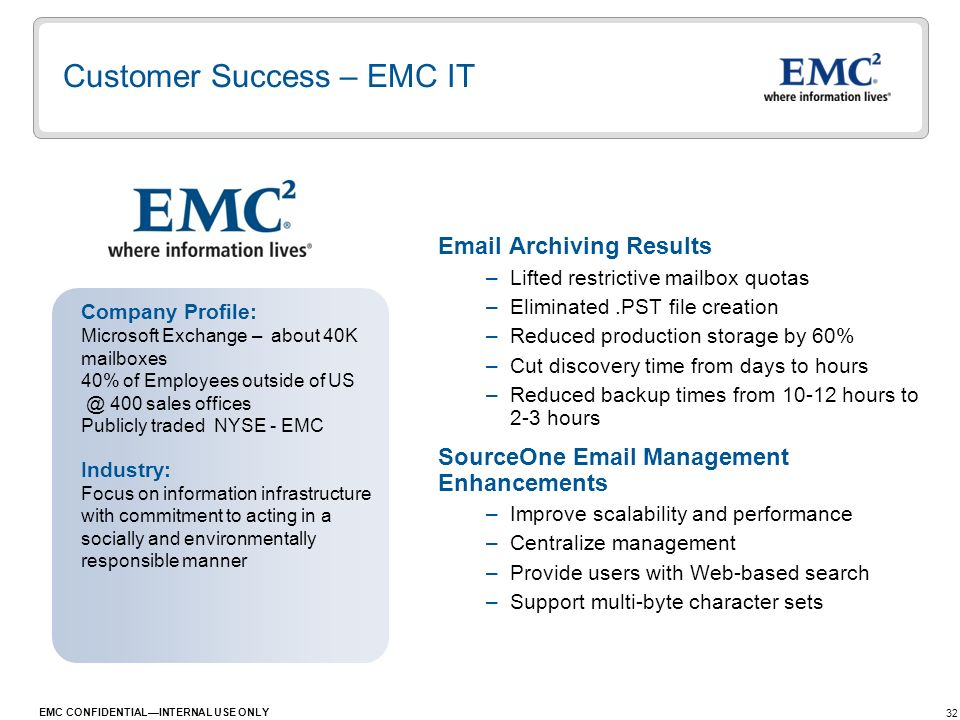 Customer Success – EMC IT