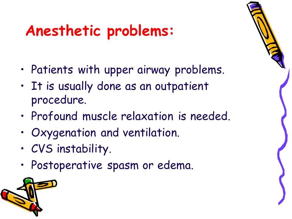 Anesthetic problems: Patients with upper airway problems.