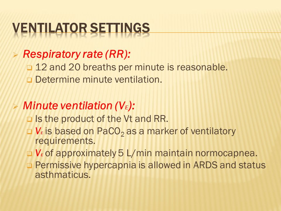 Ventilator settings Respiratory rate (RR): Minute ventilation (VE):