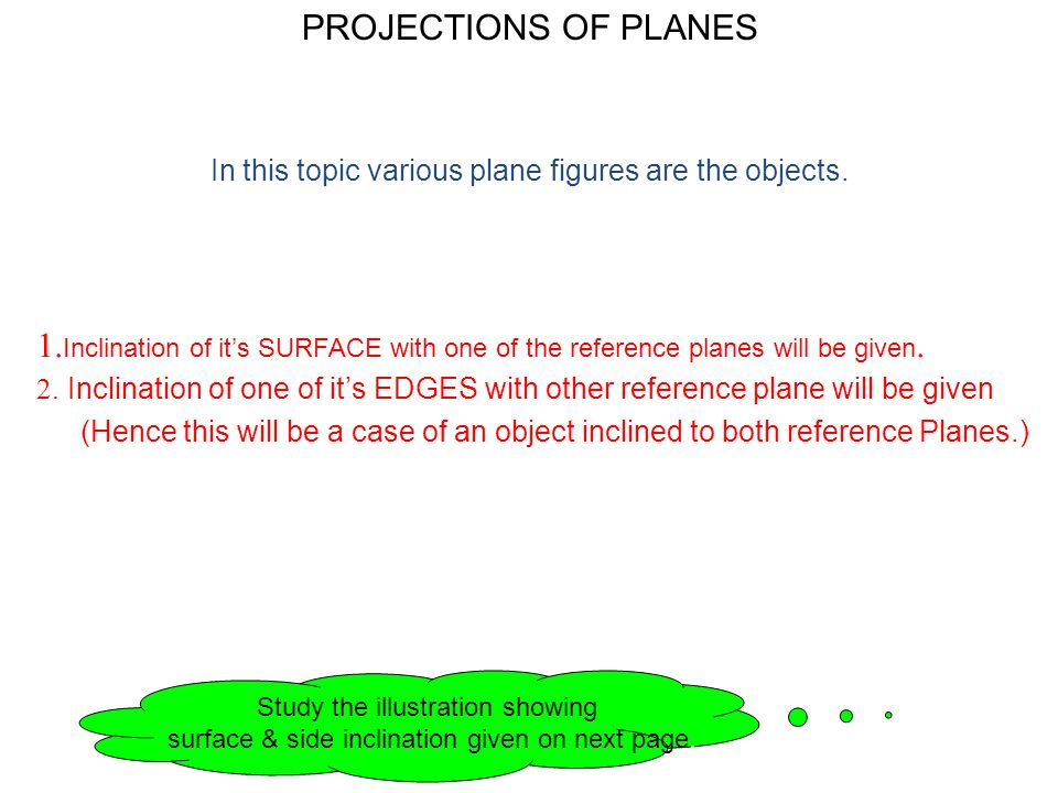 PROJECTIONS OF PLANES In this topic various plane figures are the objects.