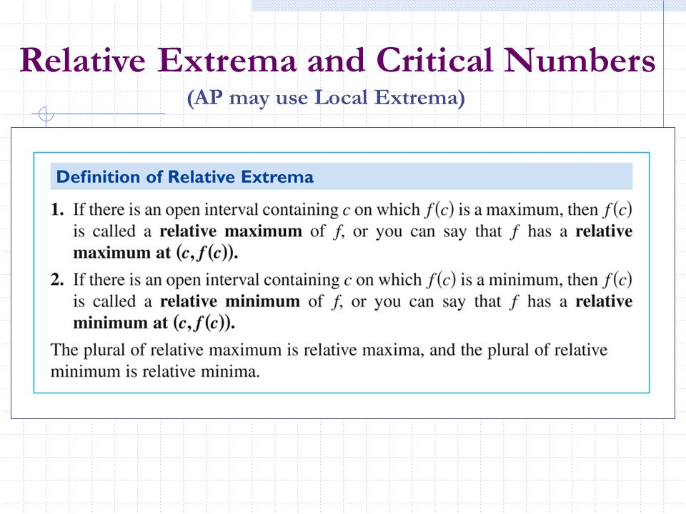 Relative Extrema and Critical Numbers