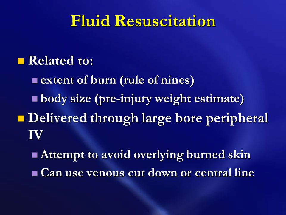 Fluid Resuscitation Related to: