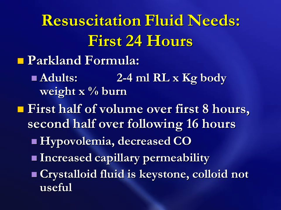 Resuscitation Fluid Needs: First 24 Hours