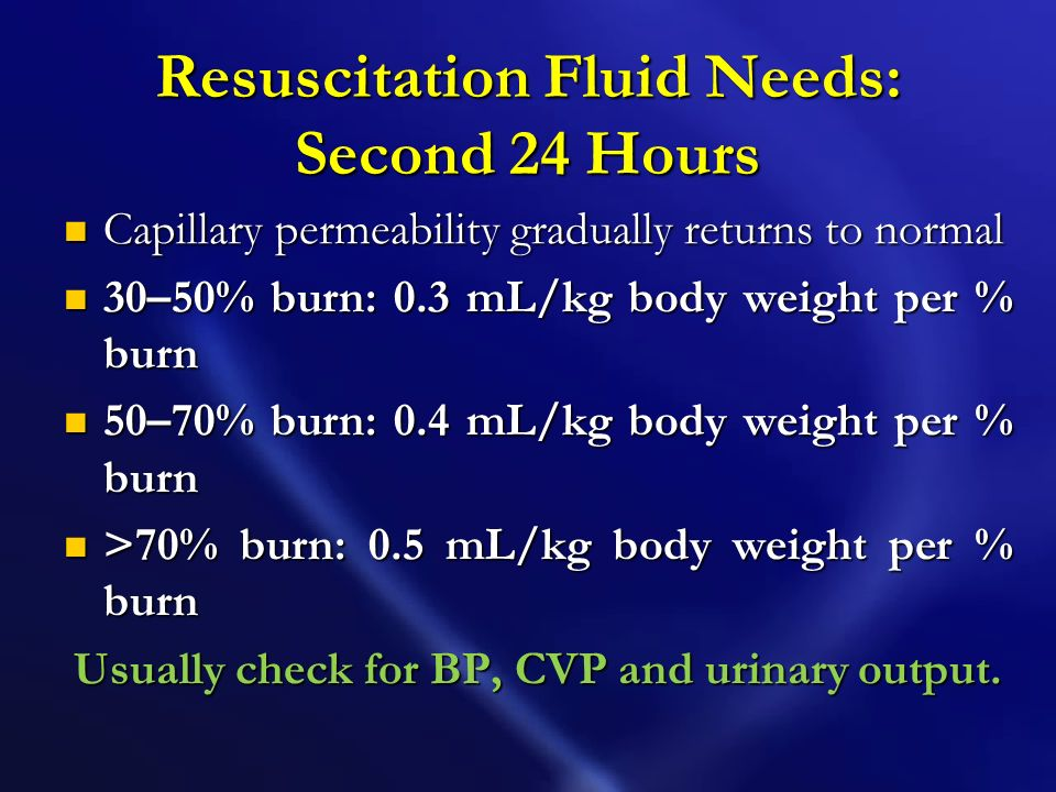 Resuscitation Fluid Needs: Second 24 Hours