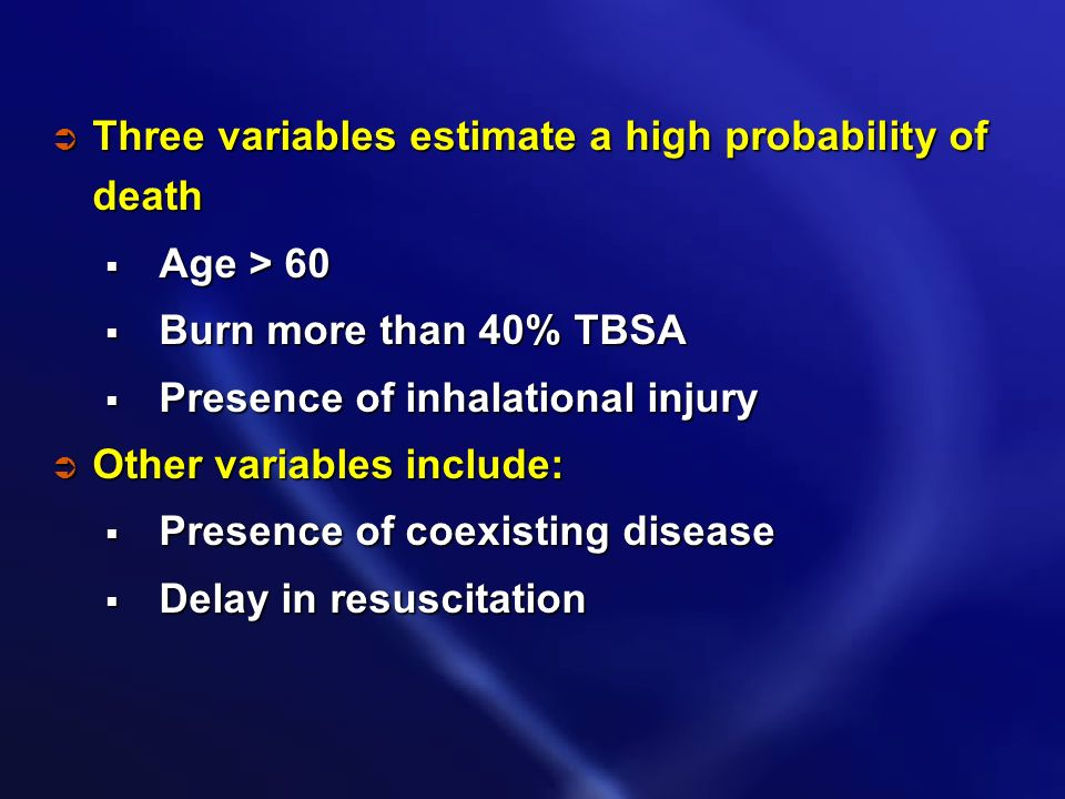 Three variables estimate a high probability of death