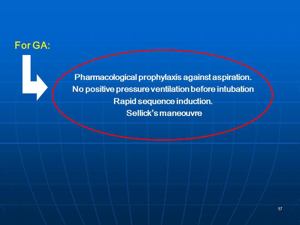 For GA: Pharmacological prophylaxis against aspiration.